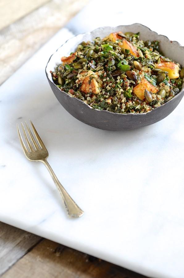Dianne Bibbys Quinoa chard & halloumi salad