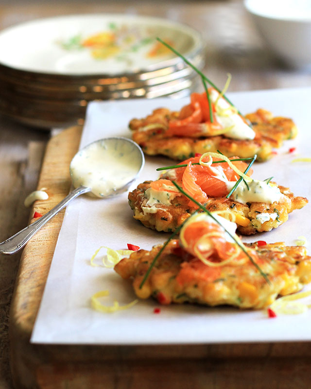 Lizet Hartleys Corn Fritters with salmon & Lemon-Dill Creme Fraiche