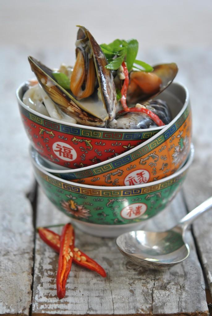 Thai mussel soup in a pot copy