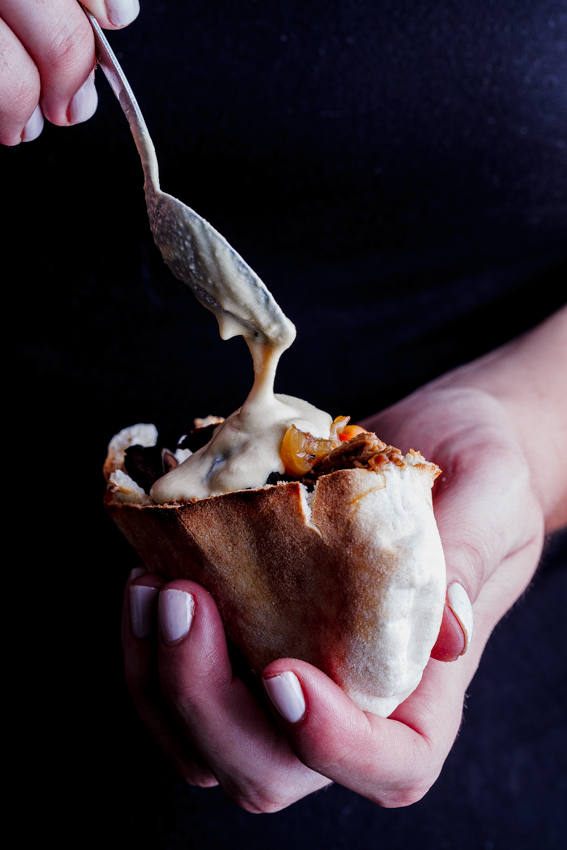 Alida Ryders Shredded lamb pitas with fried eggplant