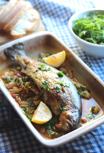 Kate Liquorishs Whole Trout stuffed with Pancetta and Fennel