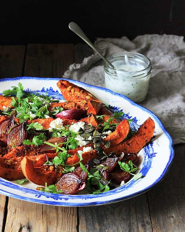 Lizet Hartleys Harissa-spiced roast butternut & red onion salad with cucumber-mint dressing
