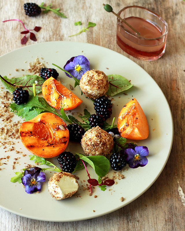 Lizet Hartleys Roasted Nectarine & Dukkah-crusted Goat's Cheese Salad