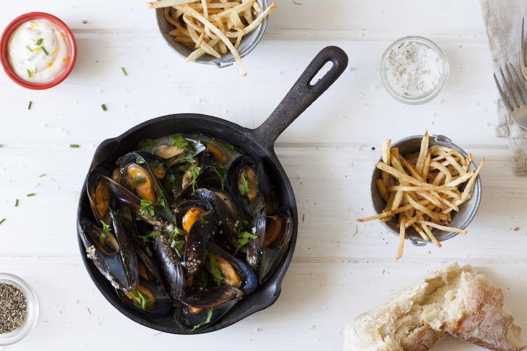 Carey Boucher Erasmuss Mussels in White Wine & Garlic with Frites