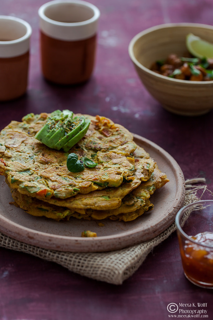 Meeta K Wolfs Indian Spiced Pancakes with avocado, kale & spinach