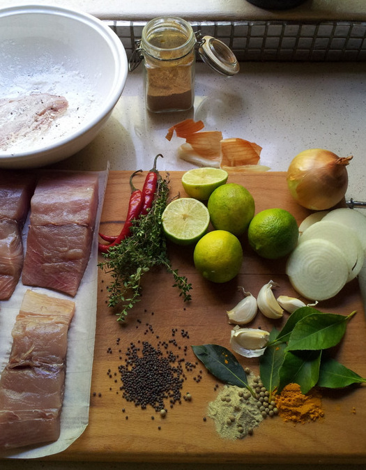 Cape Malay Pickled Fish ingredients