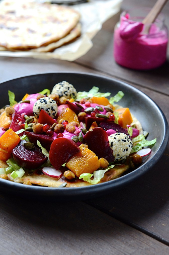 Dianne Bibbys Butternut flatbreads with beets and goats cheese truffles