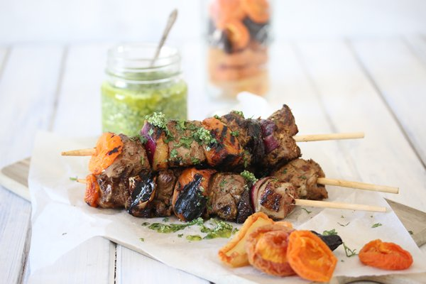 Carey Boucher Erasmus Fruity & Spicy Lamb Kebabs with Coriander Pesto