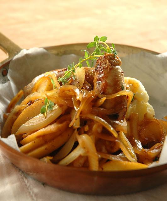 Nina Timms Bangers & horseradish mash with Apple & Onions