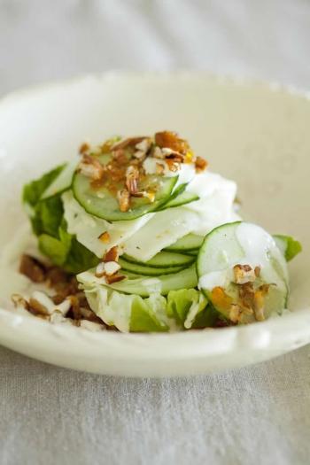 Tracy Foulkess Baby Gem, Gorgonzola & Spicy Caramelised Pecan Nut Salad