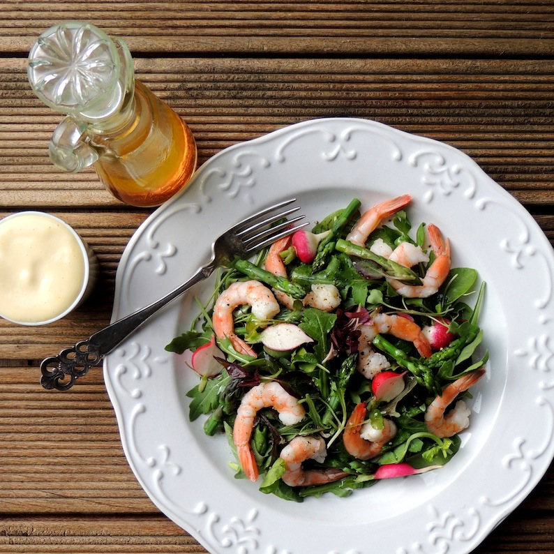 Jane-Anne Hobbss Prawns & Asparagus Salad with Verjuice Dressing & Mayo