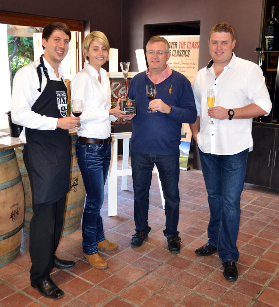 Simonsig wine making team, from left are Charl Schoeman, Debbie Thompson, Johan Malan and Hannes Meyer.