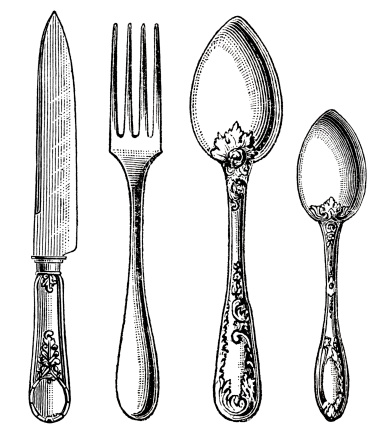 vintage-silverware-knife-fork-and-spoon-illustration-id475701835